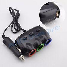 Universal 3 Socket Cigarette Lighter + 2 USB Ports Adapter Splitter For Auto Car