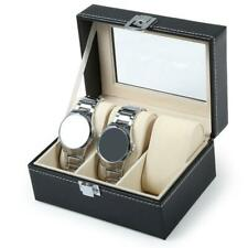 3 Slots Leather Watch Box Jewelry Bracelet Case Holder Necklace Organizer