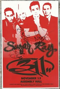 Sugar Ray autographed concert poster 1997 Rodney Sheppard, Mark McGrath     Fly