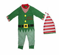 Baby Toddler Christmas Elf Santa Babygrow Playsuit All In One Elf Costume Outfit