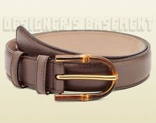 GUCCI mauve 40-100 Brown pebble Leather BAMBOO logo engrave Buckle belt NWT Auth
