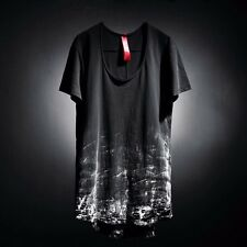 ByTheR Men's Cotton Black Paint Custom Loose Crew Neck Short Sleeve T-shirts UK
