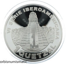 GUATEMALA 1 QUETZAL 2005 THE GREAT JAGUAR TIKAL TEMPLE SILVER PROOF RARE ZG153