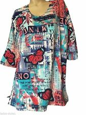 Geblümte 3/4 Arm Damenblusen, - tops & -shirts im Tuniken-Stil aus Viskose