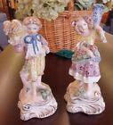 Vintage Cordey Cybis Bread Basket Boy & Jug Flower Girl 10