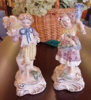 """Vintage Cordey Cybis Bread Basket Boy & Jug Flower Girl 10"""" Figurine Pair"""