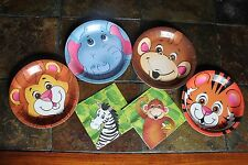 32PC ZOO SAFARI ANIMAL BIRTHDAY PARTY PLATES and NAPKINS for 16 Guests