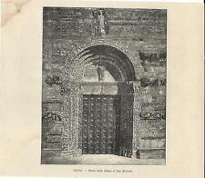 Stampa antica PAVIA porta della Chiesa di San Michele 1892 Old antique print