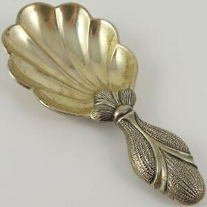 GIANMARIA BUCCELLATI ITALY ITALIAN CAPRI STERLING SILVER TEA CADDY SHELL SPOON