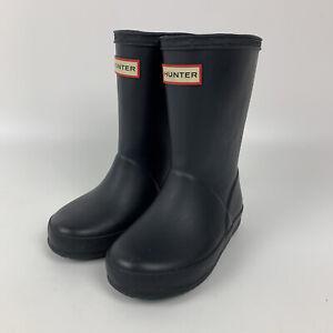Hunter Original Tall Black Matte Rubber Rain Boots Kids Youth Size 8B 9G