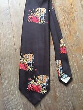 Vintage 1940s 50s Atomic Elephant  Neck Tie Brown Deadstock!