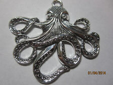 Jumbo Antique Silver Pewter Octopus Pendant Bead 60mm x 50mm 1 pc