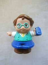Fisher Price Little People DAD FATHER MAN w/ yellow tie & blue cell phone Rare!