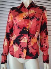 BCBG MAXAZRIA Silk Floral Top Blouse 4 Long Sleeves French Cuffs Hidden Buttons