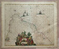 BRAZIL 1680 FREDERIK DE WIT UNUSUAL LARGE ANTIQUE ENGRAVED MAP 17TH CENTURY