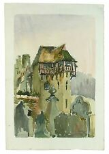 Stokesey Castle Signed Unframed Retro Landscape Watercolour Painting M Harrison