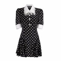 Alessandra Rich polka-dot silk crepe de chine dress [size S]