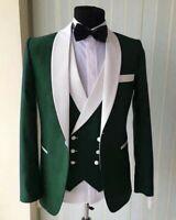 Men Olive Green Shawl Lapel Suit Groom Tuxedo  Dinner Party Prom Wedding Suit