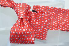 New Salvatore Ferragamo Beach Materials Men's Tie Logo Silk Red Neckwear