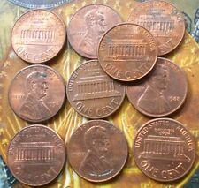 """10 COINS LOT - USA ( UNITED STATES OF AMERICA ) - 1 Cent """"Lincoln Memorial Cent"""