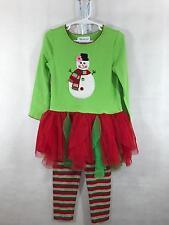 Bonnie Jean Girls Holiday Dress Green Red 2 pc Snowman Leggings Set Size 4T EUC