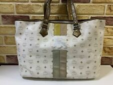 100% Authentic MCM White Lion Shopper Travel Shoulder Bag