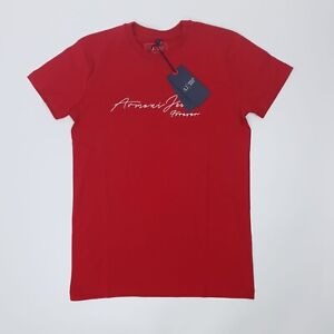 Armani Jeans AJ Red Signiture Logo Front Tshirt Short Sleeve Size M BNWT