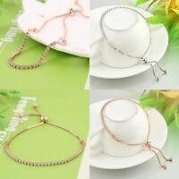 Women Cubic Rhinestone Bracelet Fashion Adjustable Chain Bangles Jewelry Gift