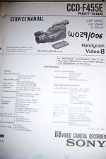 Service Manual Sony CCD-F455E  Video 8 Handycam,ORIGINAL