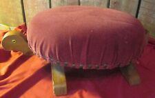 Vintage Wood Upholstered burgundy fabric seat footstool Turtle Stool Ottoman