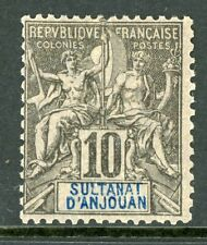 Anjouan 1892 French Colony 10¢ Peace & Commerce SG #5 Mint G504