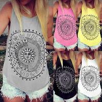 Women Summer Beach Vest Top Sleeveless Blouse Casual Tank Loose Tops Size S-3XL