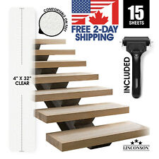 "LINCONSON Clear Anti Slip Stairs Tread Grip Tape | 4"" x 32"" | (15 Pcs)"