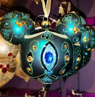Disney Parks Mickey Ears Icon Peacock Jeweled Holiday Christmas Glass Ornament