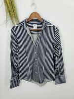 Brooks Brothers Womens V Neck Fitted Stretch Button Up Shirt Navy Striped Size 4