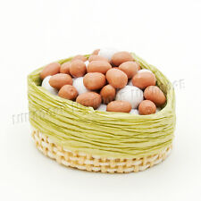 1:12 Dollhouse Eggs in Bamboo Basket Clay kitchen Food Miniature Accessory Decor