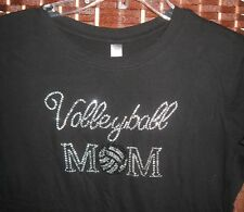 "Next Level black volleyball Mom bling shirt XL 42"" C crystals embellished top"