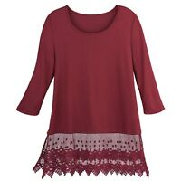 Kaktus Sportswear Womens Lace-Trimmed Tunic - Scoop Neck 3/4 Sleeve Layering Top