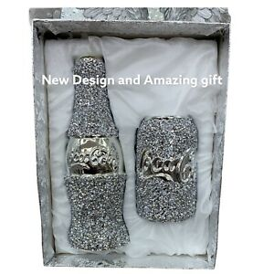 Bottel & Can Silver Crushed Crystal Diamond Beautiful Gift For Friends & Family