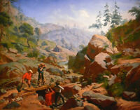 """perfect oil painting handpainted on canvas """"Miners in the Sierras """"@N13568"""