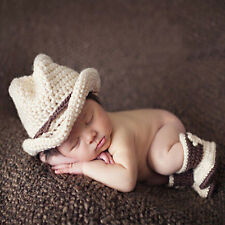 1set Baby Photography Props Cowboy Crochet Costume Knitted Costume Hat+Shoes