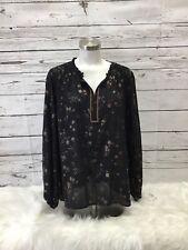 Liz Claiborne Women's Blouse Black/Gold Long Sleeve Tunic Size XL **NWT**