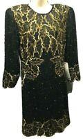 Gantos Sequin Beaded Dress  S Black Gold Beaded Christmas New Years 100% Silk
