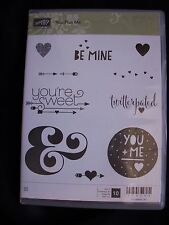 Stampin Up Clear Rubber Stamp Set You Plus Me Be Mine twitterpated Sweet Retired
