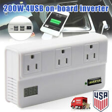 200W DC to AC Car Power Inverter Charger 4 Port 3 AC Outlets Portable for Laptop