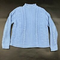 L.L. Bean Womens S Light Blue Cowl Neck Thick Pullover Sweater Winter Snowflakes