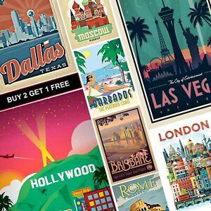 Vintage Travel Retro Posters PART 2 A4 A3 Prints Art Tourism Holiday Decor City