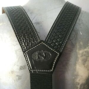 Nocona Suspenders Mens Galluse Extreme Leather Black 8612401 Made in Texas Sz M