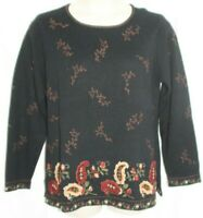 Talbots Women's Nordic Sweater Black Brown Floral Embroidered Cotton Size XL