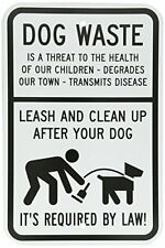 Dog Waste - Leash and Clean Up After Your Dog with Graphic B&W Aluminum Sign